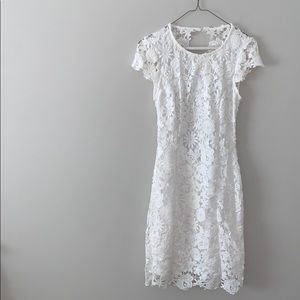 NEVERWORN White Floral Lace Dress w/ Open Back